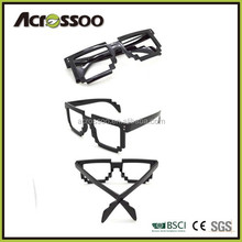 Black neon party cheap plastic wedding pixelated sunglasses,black 8 bit pixel sunglasses