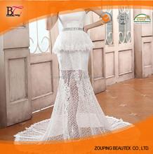 2014 tail short waist translucent shadow wedding dress for you