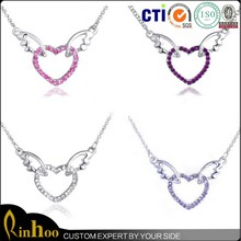 Fashion wings of angel silver heart necklace/Cheap angel wings necklace wholesale