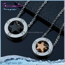 New couple stainless steel gemstone hanging pendant