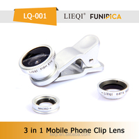 Universal clip-on mobile phone 0.67x wide angle+fish eye+macro lens 3 in 1 for phone/pad/ip/notebook Lieqi LQ-001 China factory