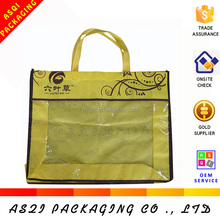 custom printing PVC window clothes packing non woven bag with zipper