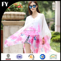Custom new design high quality digital printed white silk scarf for painting