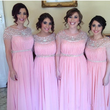 Cute Pink Bridesmaid Dresses 2015 New Arrival Sleeveless Scoop Sash A-Line Floor-Length Lovely Formal Prom Dress