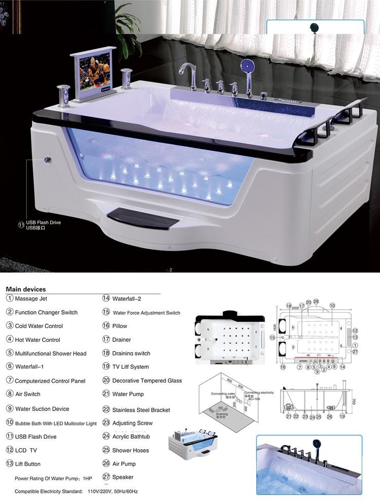 hs-b229a rechteckigen zwei personen massage whirlpool badewanne, Hause ideen