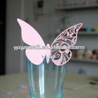 Popular butterfly place cards for wine glass wedding party decoration for wholesale and retail