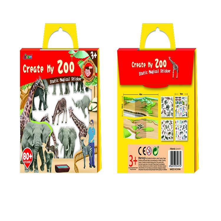 Многоразовые детей Пользовательские Съемных бумажные книги наклейки зоопарк Final