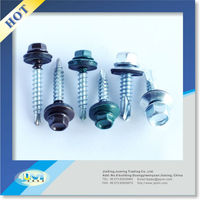 Wholesale indented hex head self drilling roofing screw with assembled EPDM sealing washer rubber