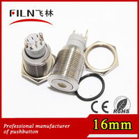 50pcs/lot 16mm install hole stainless steel flat actuator push button reset switch with with the dot led