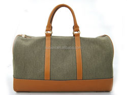 Wholesale canvas bag with leather trim