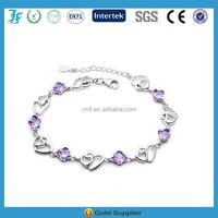 2015 New Design Double Purple Heart Crystal Bangle Bracelet
