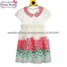 Paquistaníes de bebé de algodón vestido para 3-8y año- de edad los niños vestidos de flores patrón vestidos de algodón