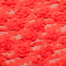 red 100%polyester lace fabric,red lace fabric , lace embroidery on mesh(AT158560)