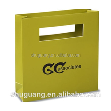 Luxury Die Cut Handle Paper Shopping Bag with Orange Background