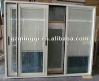 Aluminium double glass door with venetian blinds manufacturer