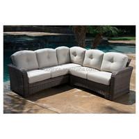 Antique simple 5 seater composite corner sofa set ratan garden furniture