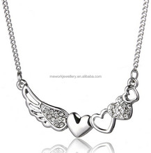 Swing and heart silver finish zinc alloy chrome plating heart pendant necklace