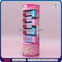 TSD-C627 round cardboard display case with hook/supermarket hook cardboard stand/folding cardboard shelves for veet cream