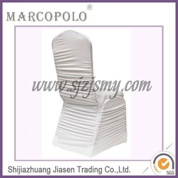 Spandex cheap ruched chair cover/lycra chair cover/$1 banquet ruched chair cover white