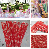 Snow Pattern Paper Drinking Straws 25PCS/Bag Home Birthday Party Wedding Decor Red Biodegradable Drink Straw