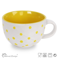 225ml lovely homeware dots ceramic soup mug with handle