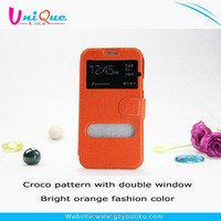 cool design crocodile grain leather dual window mobile phone case cover for samsung galaxy s5 i9600