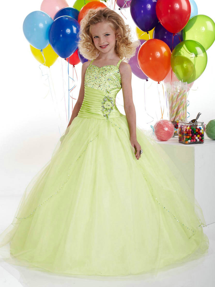 Wholesale new style a line tulle beaded modern girls dresses dresses