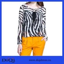 el otoño 2014 de lujo de alta calidad de impresión de mujeres manga larga blusa tejida
