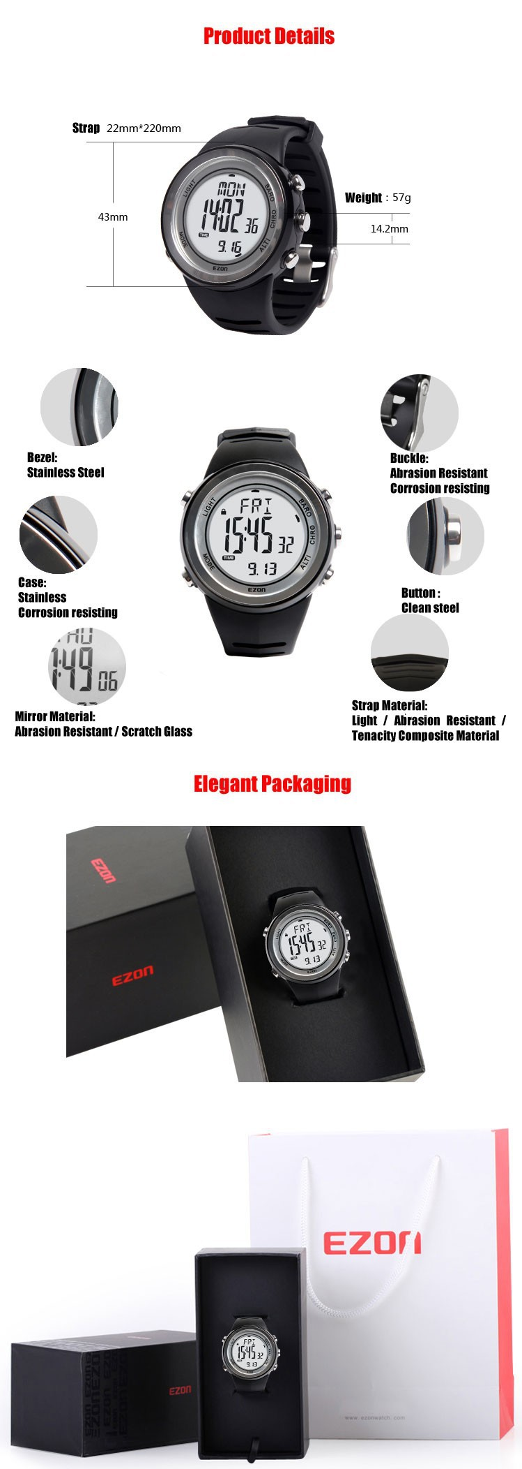 ezon watch H009A15 H009A11 professional lady sport climbing smart gps waterproof wristwatch