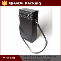 Customize Printed Faux Leather Wine Bag Carrier