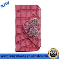 Crocodile Grain PU leather handbag for iPhone 5/5S with sticker diamond