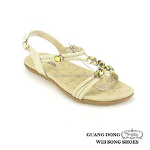 ankle strap buckle feet bottom massage nice rhinestone vamp ornament flat ladies new design flat sandals