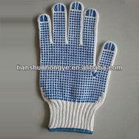 Blue pvc dots 7gauge cotton shell grip gloves