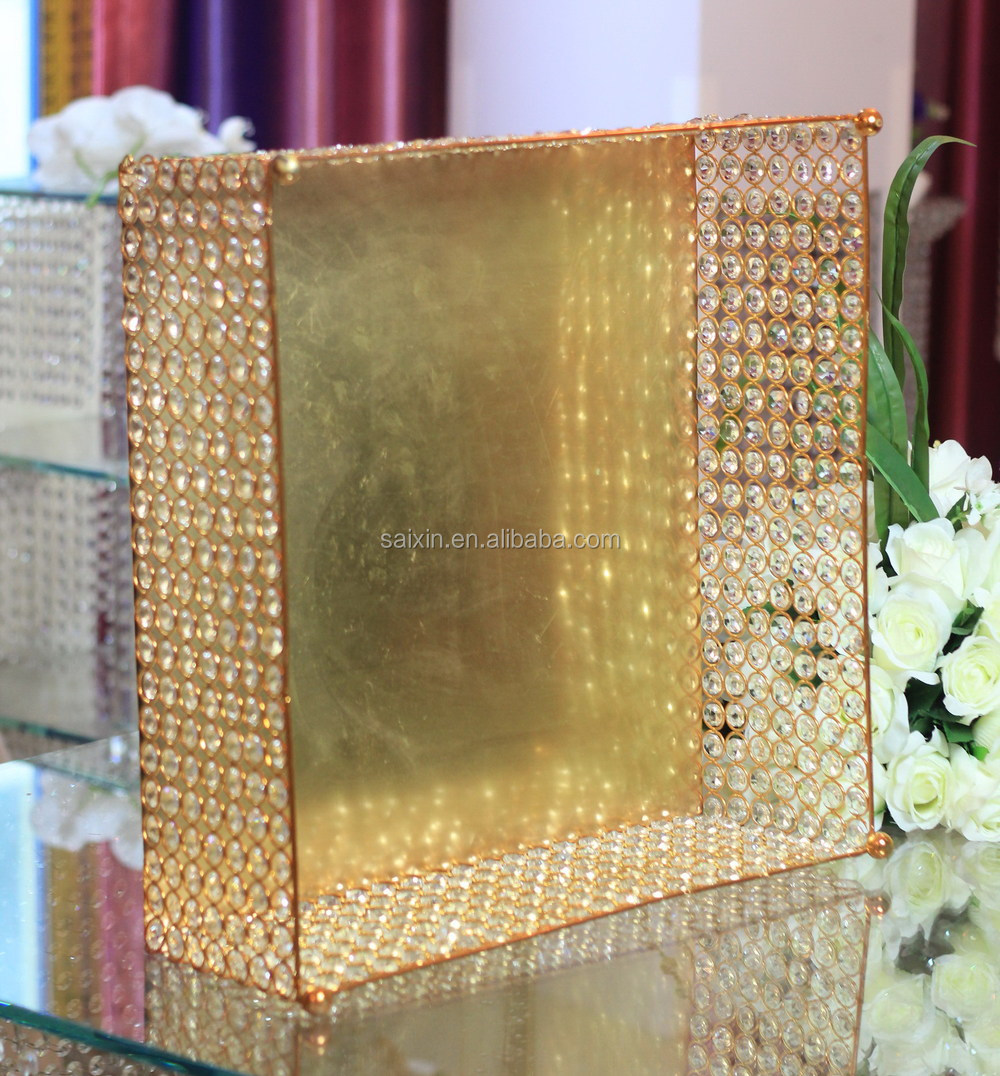 Beautiful Square Gold Cake Stand For Wedding Table Center - Buy Gold ...