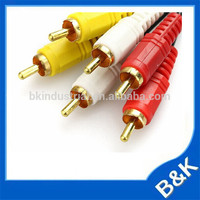 Burundi 1.5m Video 3RCA Gold Plated 3.5mm rca moq500pcs AV Cable made in China