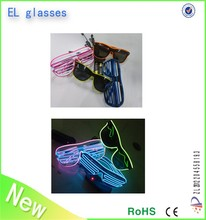 2015 new design crazy funky amazing EL wire flashing plastic heart shape party glasses 3D diffraction glasses