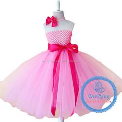 Full length pink baby girl party evening tutu dress children frocks designs 2015