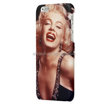 No minimum order quantity full printing marilyn monroe phone case customized hard plastic phone case for iphone 6 with own desig