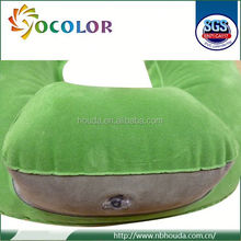 ecofriendly pvc Green Flocking Inflatable Neck Pillow used on planet