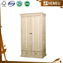 WB3006- Antique white with drawer solid wood girls wardrobe