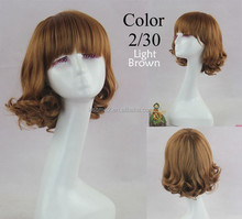 wholesale alibaba lady's fashion heat resistant synthetic hair wig new popular wavy style female elegant wigs