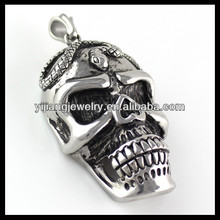 stainless steel skull pendant with snake