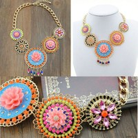 Gold Plated Fashion Jewelry Citi Trends Jewelry Wholesale For Woman Crystal Flower Statement Necklace