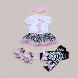 Newborn Clothing Set Summer Girls Infant Skirt Bodysuits Headband Warmer Shoes Tutu Romper Set 4 Pieces Newborn Clothing Set