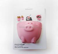 FDA/LFGB food safe silicone piggy egg poacher,cute pig snack cups,piggy cup for baking muffins and cupcakes