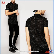 Fashion cheap longline man black polo t-shirt 100% cotton shirt in inject slub fabric