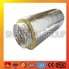waterproof fiberglass wool insulated double foil air duct china