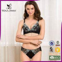 2015 Latest Fitness Young Girl Three-D lace New Model Bra Set