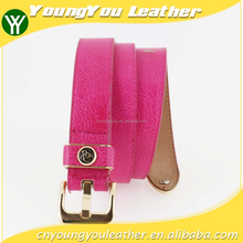 2015 Women's fashion Pink PU leather belts women with smooth gold buckle belt