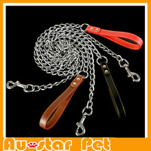 High Quality Leather Adjustable Leads for Medium and Big Dog Training Leash for pet Leash Metal Iron Dog Chain Collar